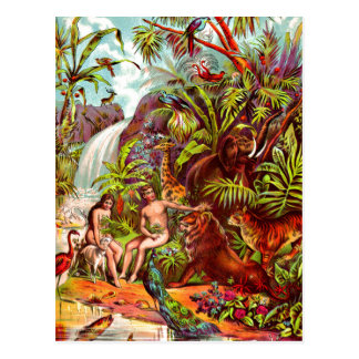 Adam and Eve postcard