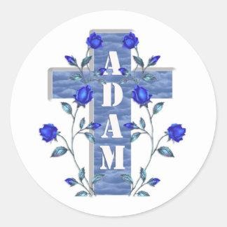 Adam Blue Cross Classic Round Sticker