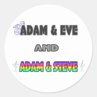 Adam & Eve & Adam & Steve Classic Round Sticker