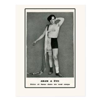 Adam Eve Half Man Half Woman Postcard