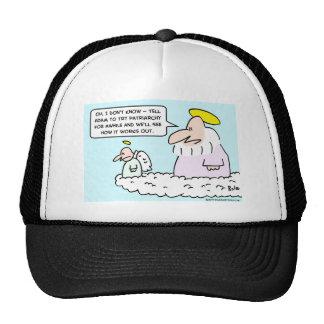 adam eve patriarchy god angel mesh hat