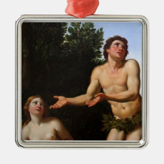 Adam & Eve - tree in the midst of the garden Ornam Silver-Colored Square Decoration