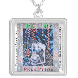 Adam & Eve Valentine's Day Square Pendant Necklace