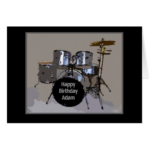 Adam Happy Birthday Drums Greeting Cards