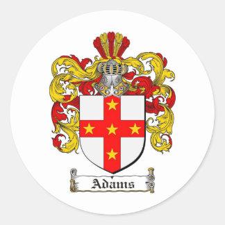 ADAMS FAMILY CREST -  ADAMS COAT OF ARMS CLASSIC ROUND STICKER