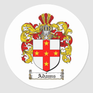 ADAMS FAMILY CREST -  ADAMS COAT OF ARMS ROUND STICKERS