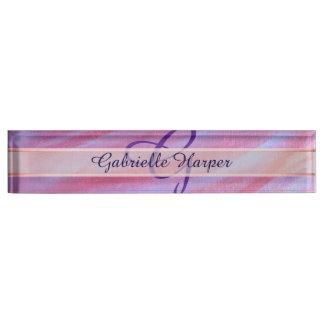 Adaptable Desk   Chic Pink Purple Zebra Stripe Nameplate