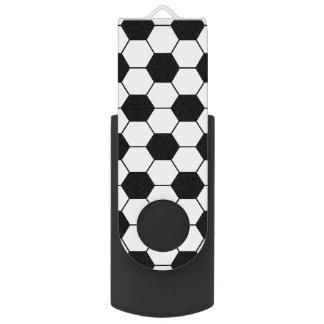 Adapted Soccer Ball pattern Black White Swivel USB 2.0 Flash Drive