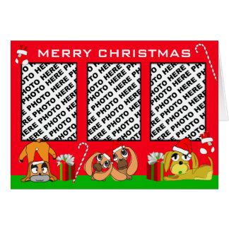 Add 3 Photos In One Merry Christmas Card Puppy Red