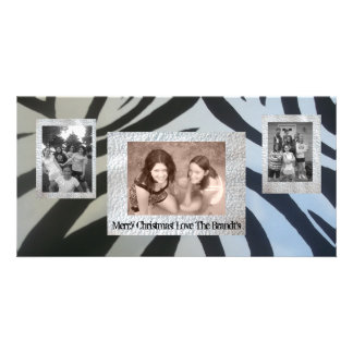 Add 3 Three photos Christmas Card Zebra Print Personalised Photo Card