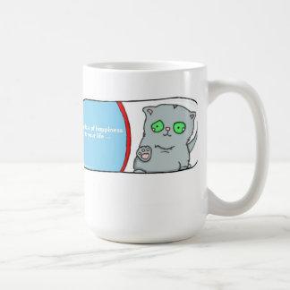 Add a dose of hapiness, shelter cat adoption basic white mug