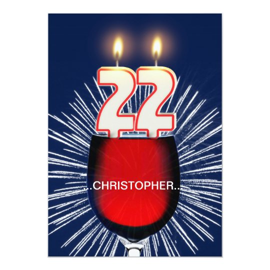 Add a name, 22nd Birthday party Invitation, wine