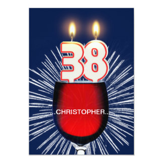 Add a name, 38th Birthday party Invitation, wine Card