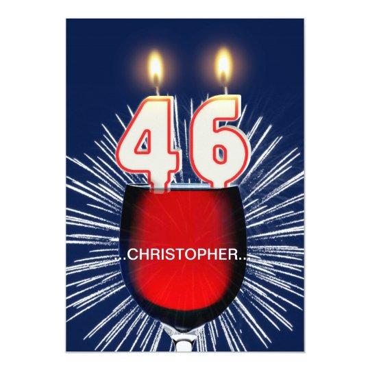 Add a name, 46th Birthday party Invitation, wine
