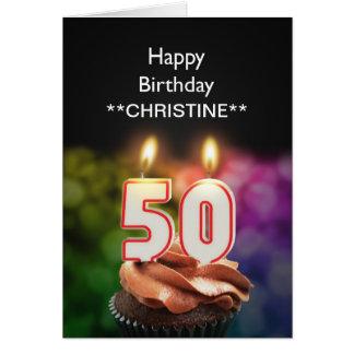 Add a name, 50th birthday card