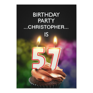 Add a name, 57th Birthday party Invitation