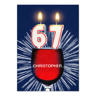 Add a name, 67th Birthday party Invitation, wine Card