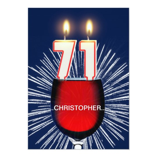 Add a name, 71st Birthday party Invitation, wine