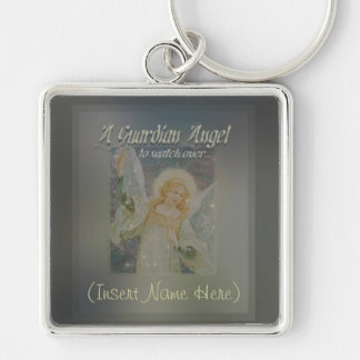 Add a Name Guardian Angel Customize It! Silver-Colored Square Key Ring