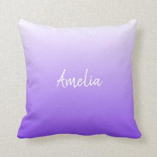 Add a name Ombre gradient bright purple Cushion