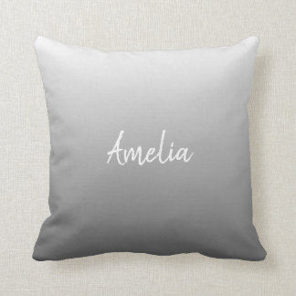 Add a name Ombre gradient grey Cushion
