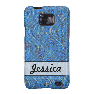 Add A Name Simple Blue Pattern Galaxy S2 Case