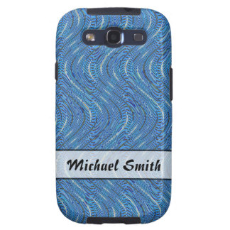 Add A Name Simple Blue Pattern Samsung Galaxy SIII Covers
