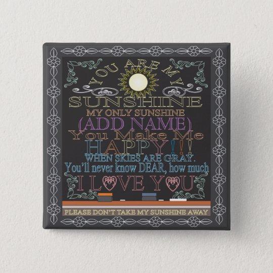 Add a Name Sunshine Vintage Chalkboard 15 Cm Square Badge