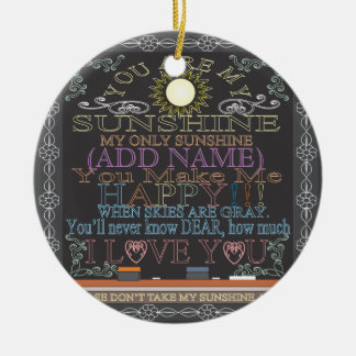 Add a Name Sunshine Vintage Chalkboard Christmas Ornament