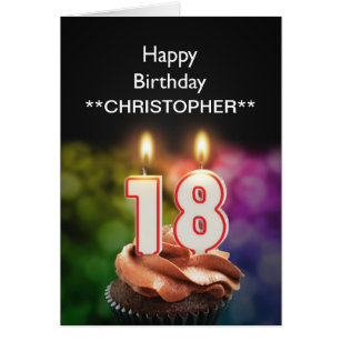 18th birthday cards invitations zazzle add a name to this 18th birthday card candles bookmarktalkfo Images