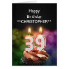 Add a name to this 39th birthday card candles