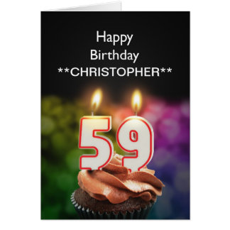 Add a name to this 59th birthday card candles