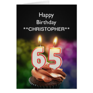 Add a name to this 65th birthday card candles
