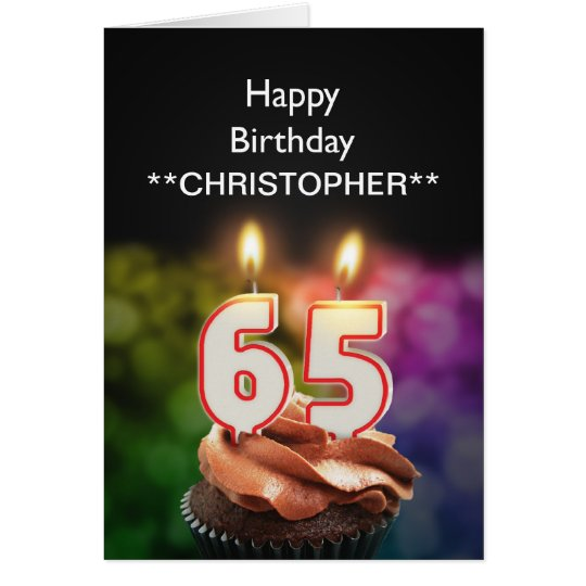 Add a name to this 65th birthday card