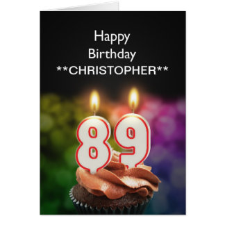 Add a name to this 89th birthday card candles