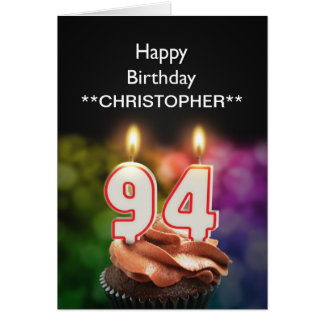 Add a name to this 94th birthday card candles