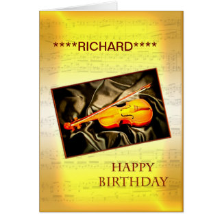 Add a name to this birthday card with a violin