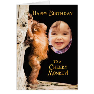 Add a photo, Happy birthday from a baby orang utan Card