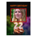 Add a picture, 22nd Birthday with cake and candles Card