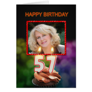 Add a picture, 57th Birthday with cake and candles Greeting Card