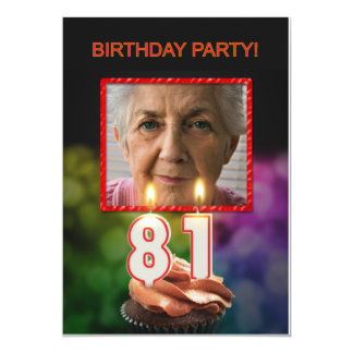 Add a picture, 81st Birthday party Invitation