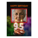 Add a picture, 95th Birthday card with Candles