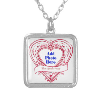 Add A Special Message Photo Red Hearts Necklaces