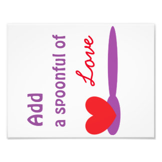 """Add A Spoonful of Love 8.5""""x11"""" Kitchen Wall Art Photographic Print"""