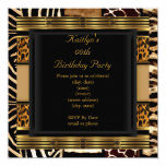 Add Age Party Birthday Wild Exotic Mixed Animal 13 Cm X 13 Cm Square Invitation Card