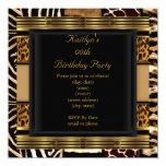 Add Age Party Birthday Wild Exotic Mixed Animal 13 Cm X 13 Cm Square Invitation Card