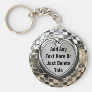 Add Any Text Mirror Ball Keychain