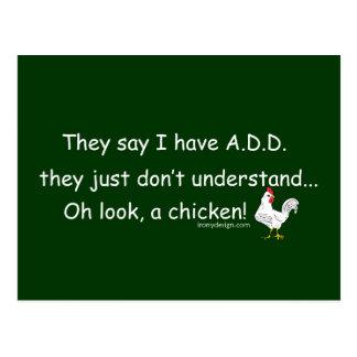 ADD Chicken Humor Saying Postcard