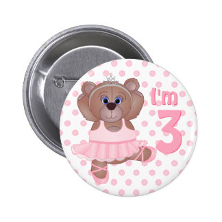 Add Child's Age Cute Teddy Bear Ballerina Button