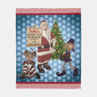 "Add Couples Name ""Santa's Naughty List"" Candy Cane Fleece Blanket"